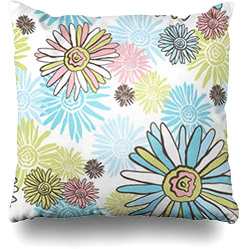 Throw Pillow Covers Tile Pink Floral Chamomiles Flower Abstract Blue Retro Pattern Turquoise Botanical Brownabstract Pillowcase Square Cute 18 x 18 Inches Home Decor Cushion Cases