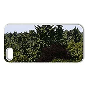 The Forest Tower, Red between Green - Case Cover for iPhone 5 and 5S (Forests Series, Watercolor style, White)