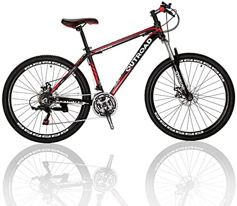 Outroad Mountain Bike 21 Speed 26 inch Road Bike Commuter Bicycle, Black Silver