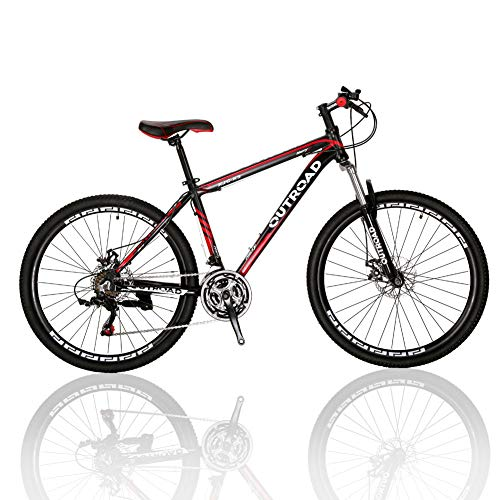 Outroad Mountain Bike Road Bike for Men/Women 26 inch 21 Speed Grass Sand Bicycle Commuter Bicycle, Red Black Silver