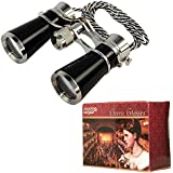 HQRP 7x25 High Magnification Ultra Compact Light Theater Binoculars w/ Crystal Clear Optic (CCO) Mysterious Black Pearl Color with Silver Trim and Silver / Black Necklace Chain