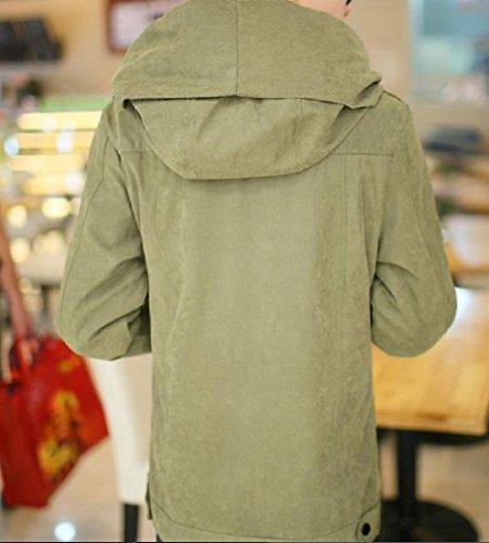 Con Zip Puro Colore Giù Angelspace Moda Mens Militare La Cappotti Tasche Trapuntato Verde nzx0x