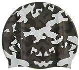 Speedo Jr. Camo Swim Cap, Black/Silver