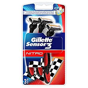 Gillette sensor 3 - Cuchillas de afeitar desechables (3 unidades), color rojo