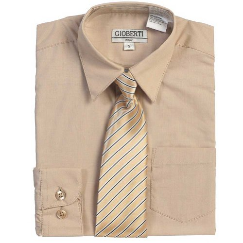 Tan Pinstriped - Khaki Tan Button Up Dress Shirt Pinstriped Tie Set Toddler Boys 4T