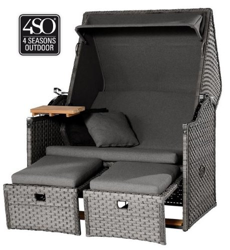 4seasons outdoor Strandkorb 2 -Sitzer Duet Charcoal grau Mod.2013