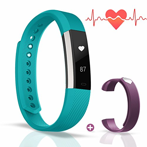 Fitness Tracker - Ausun A1-HR Heart Rate Monitor Smart Watch with Step Tracker - Touch Screen Pedometer Wristband for iPhone & Android Phones - Green