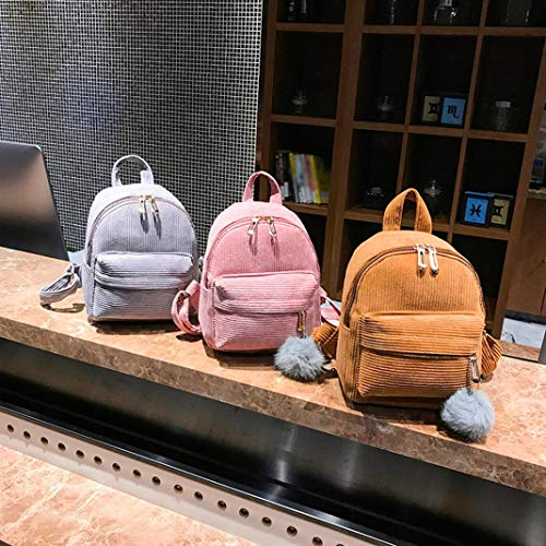 Girl Corduroy Pink School Hairball Backpack Satchel NEWONESUN Student Travel Bag by Bag rwErq1p