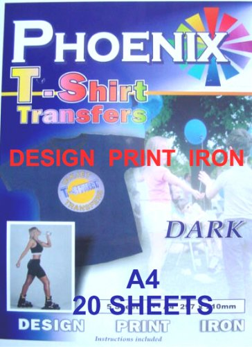 20 Sheets of A4 Matt Inkjet Iron A4 Transfer Paper for Dark Colour MyInkLink