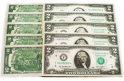 - Two Dollar Bills - Ten (10) Real Uncirculated and Rare $2 Bills in Collectible Currency Holder (Mint Condition)