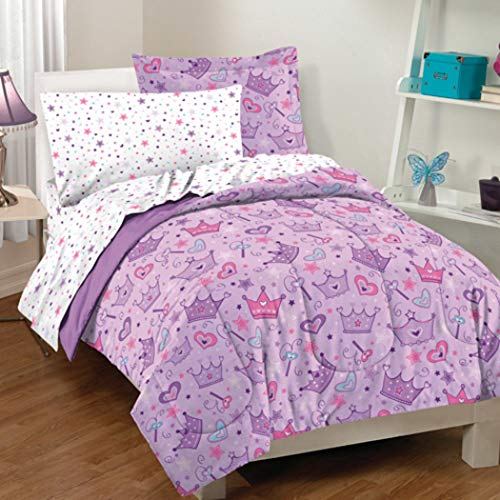 7 Piece Kids Girls Purple Pink Crown Comforter Full Set, White Stars Bedding Princess Tiara Themed Bed In Bag Scepter All Over Heart Twinkle Prints Novelty Fairy Princess Royal Costume Designs, Cotton