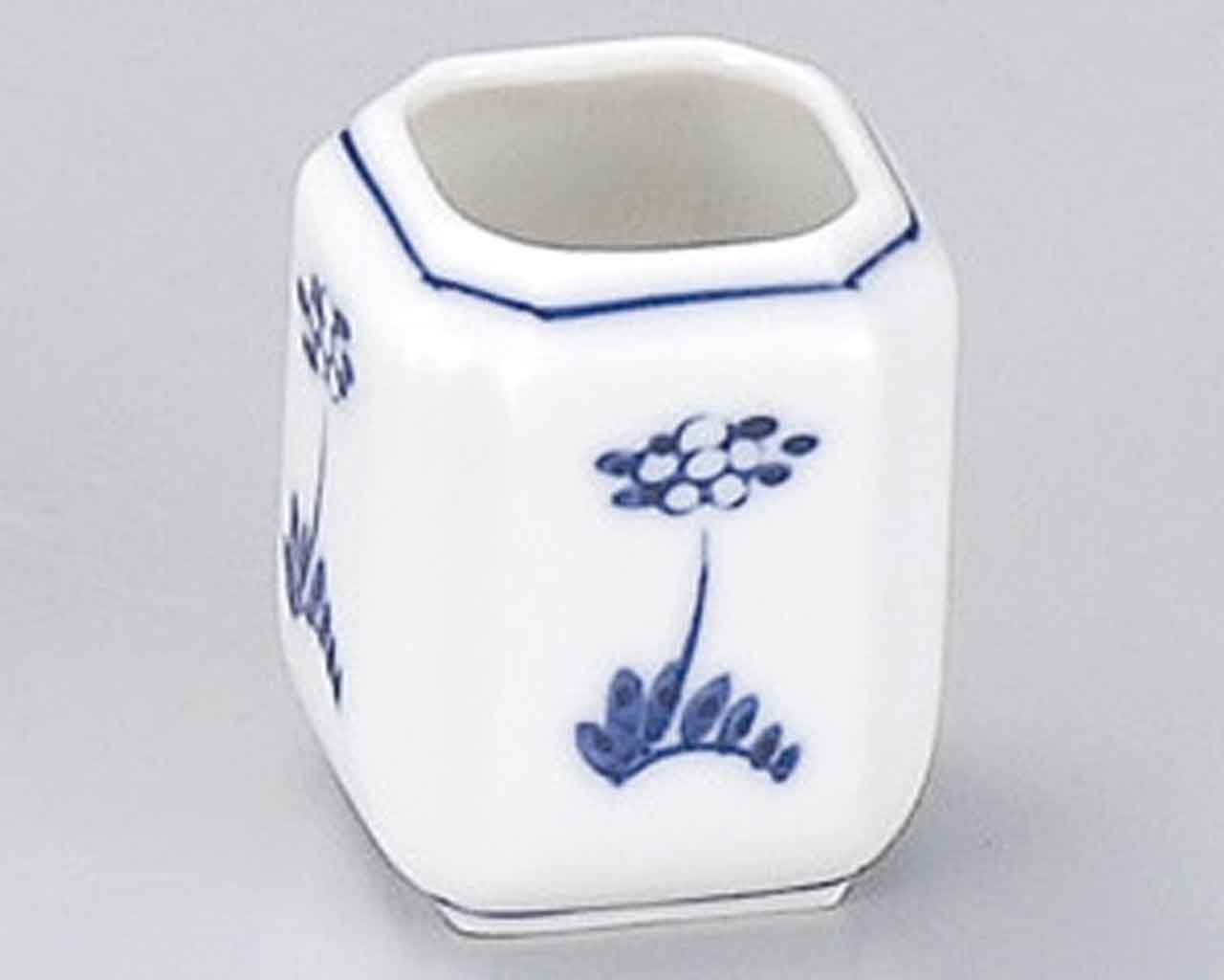 Flower 1.7inch Set of 5 Toothpick holders White porcelain Made in Japan