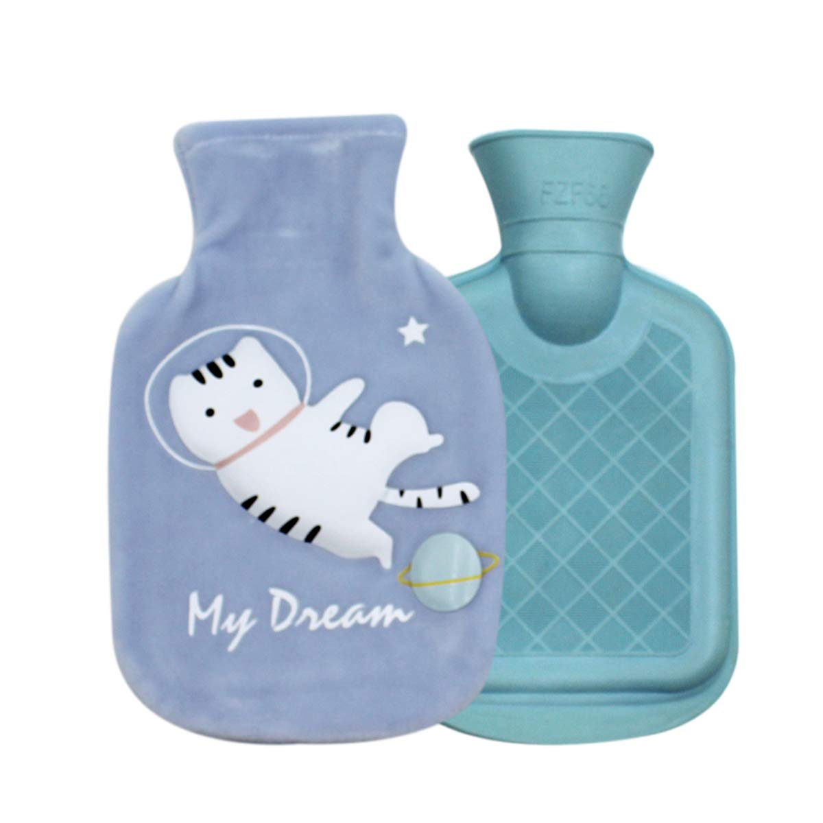 Cute Cat Rubber Hot Water Bottle with Plush Fleece Cover, Hand Feet Belly Warmer