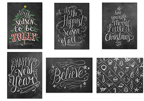 72 Holiday Cards - Chalkboard Holiday - 6 Designs - Red Envelopes Included