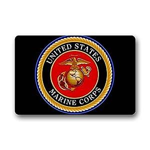 Mr. Six Custom Door Mat United States Marine Corps Logo Indoor/Outdoor  Doormat Non Slip Rubber Kitchen Rugs 23.6 X 15.7 Inch