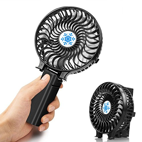 UBEGOOD Handheld Fan, Foldable USB Fan Personal Portable Table Fan with Rechargeable Battery Operated Electric Mini Cooling Fan for Office Outdoor Traveling Fishing Camping - 3 Speeds, Black