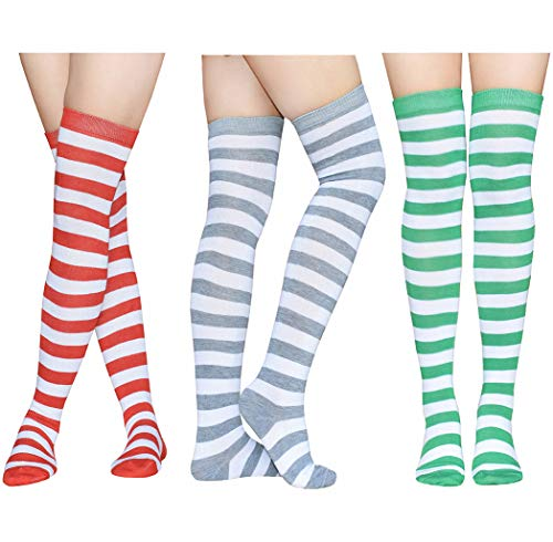 Raylarnia Women's Extra Long Opaque Striped Over Knee High Stockings Socks- 3 Pairs Stripes A ()