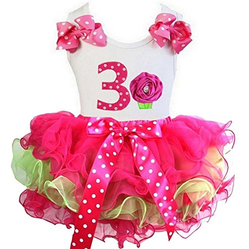 Kirei Sui Hot Pink Lime Green Tutu 1st - 6th Birthday Cupcake Top Outfit Small 3rd