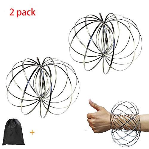 Flow Ring Kinetic Spring Toy, 3D Spinner Ring Arm Slinky Magic Roll Ring Multi Sensory Interactive Spring Bracelet - 2 Pack -