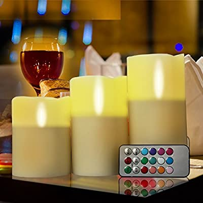 GPCT 3 LED Real Wax Unscented [Flameless Candles] W/ Built-In Timer. Great for Bedroom Bathroom Weddings Festivals Parties Power Outage. Comes W/ Remote Control, 24 Hour Time, & Battery Operated.