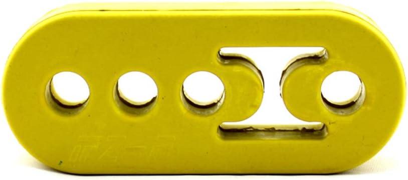 Hole Size Universal Yellow 0.47inch perfk Car Exhaust Rubber Hanger Insulator Bracket Bushing Mount 4 Holes 12mm