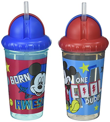 Disney Mickey Mouse 2 Piece Pop Up Straw Infants Sippy Cup, Multi ()