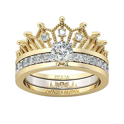 WYILIY Ring Round Diamond Wedding Band Accessory Rings Intertwined Crossover Statement Ring Fashion Gold Silver Plated Finger Rings Costume Size 5-11 (Size 5, Crown)