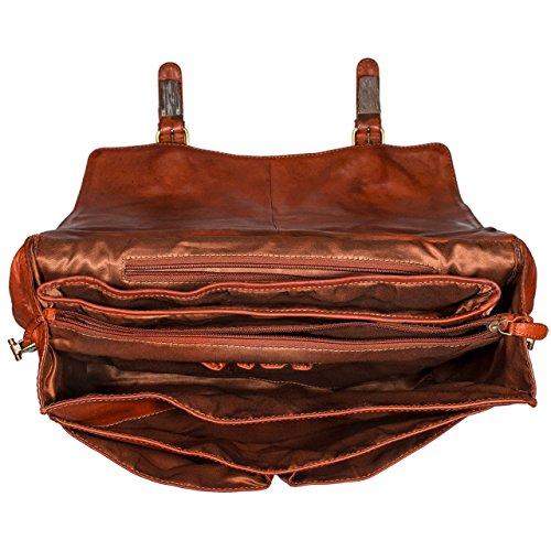 STILORD Richard Aktentasche Leder Herren Vintage Businesstasche 13.3 Zoll Laptoptasche große Bürotasche Arbeitstasche mit vielen Fächern, Farbe:muskat - braun cognac - used