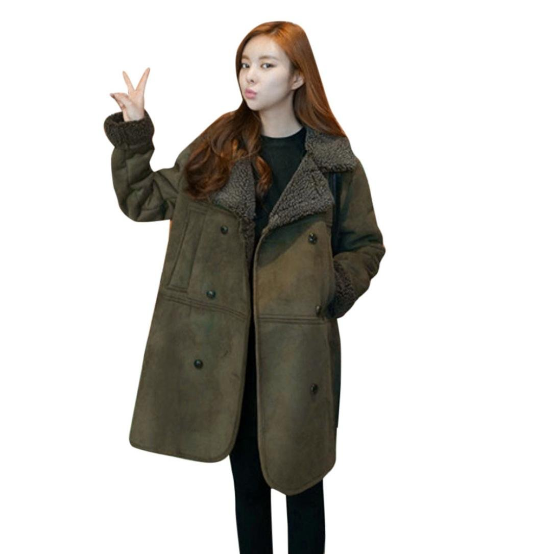 todaiesレディース長袖フェイクファーコート冬暖かい厚手ロングプラスサイズコートジャケットM - 5 X L L グリーン B076LY1386  グリーン L