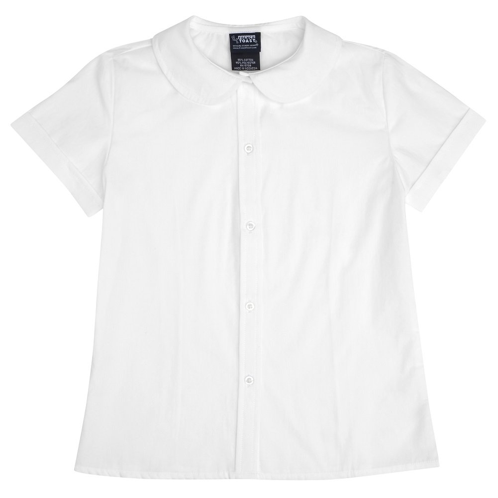 French Toast Short Sleeve Peter Pan Blouse (Sizes 2-6X) - white, 6