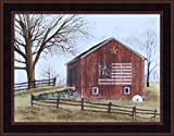 Flag Barn by Billy Jacobs 15x19 Americana Red Barn Patriotic Country Primitive Folk Art Print Wall Décor Framed Picture