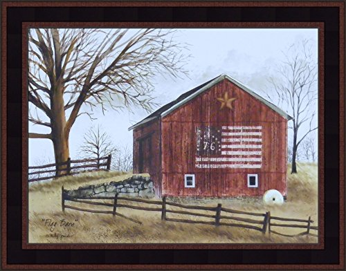 Flag Barn by Billy Jacobs 15x19 Americana Red Barn Patriotic Country Primitive Folk Art Print Wall Décor Framed Picture ()