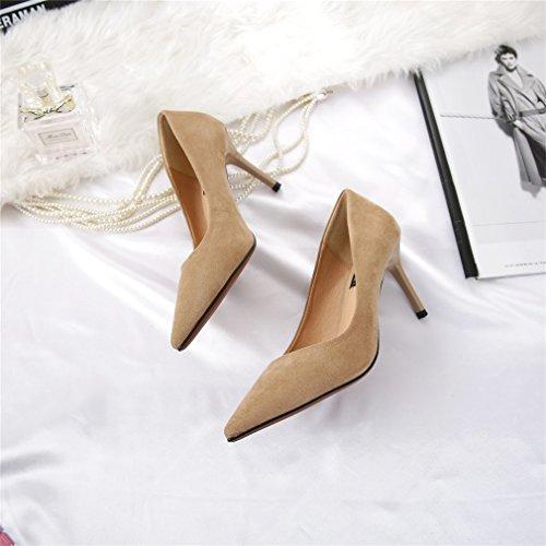 s bombas de ' color tacones s sexy Women punta Xianshu gamuza zapato de qw7CTaT