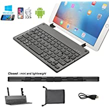 Foldable Bluetooth Keyboard with USB Ultra Slim Rechargeable Folding Bluetooth Wireless Keyboard Aluminium Base with Built-in Stand for All Windows iOS Mac OS Android Tablet Smartphone TV box