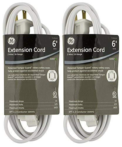 2-PACK - GE Extension Cord, Indoor, White with Tamper Guard, 6 ft