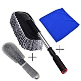Car Duster Removable Telescopic Wax Car Wash Brush Car Mop Including Microfiber Towel and Wheel Brush
