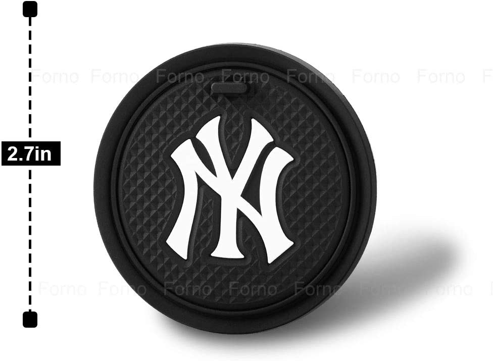 CHLSD 2PCS Car Interior Accessories for NY Yankee Cup Holder Coasters Silicone Coasters for Cup Holders Insert Drink Coaster 2.75 inch Fit All Vehicles