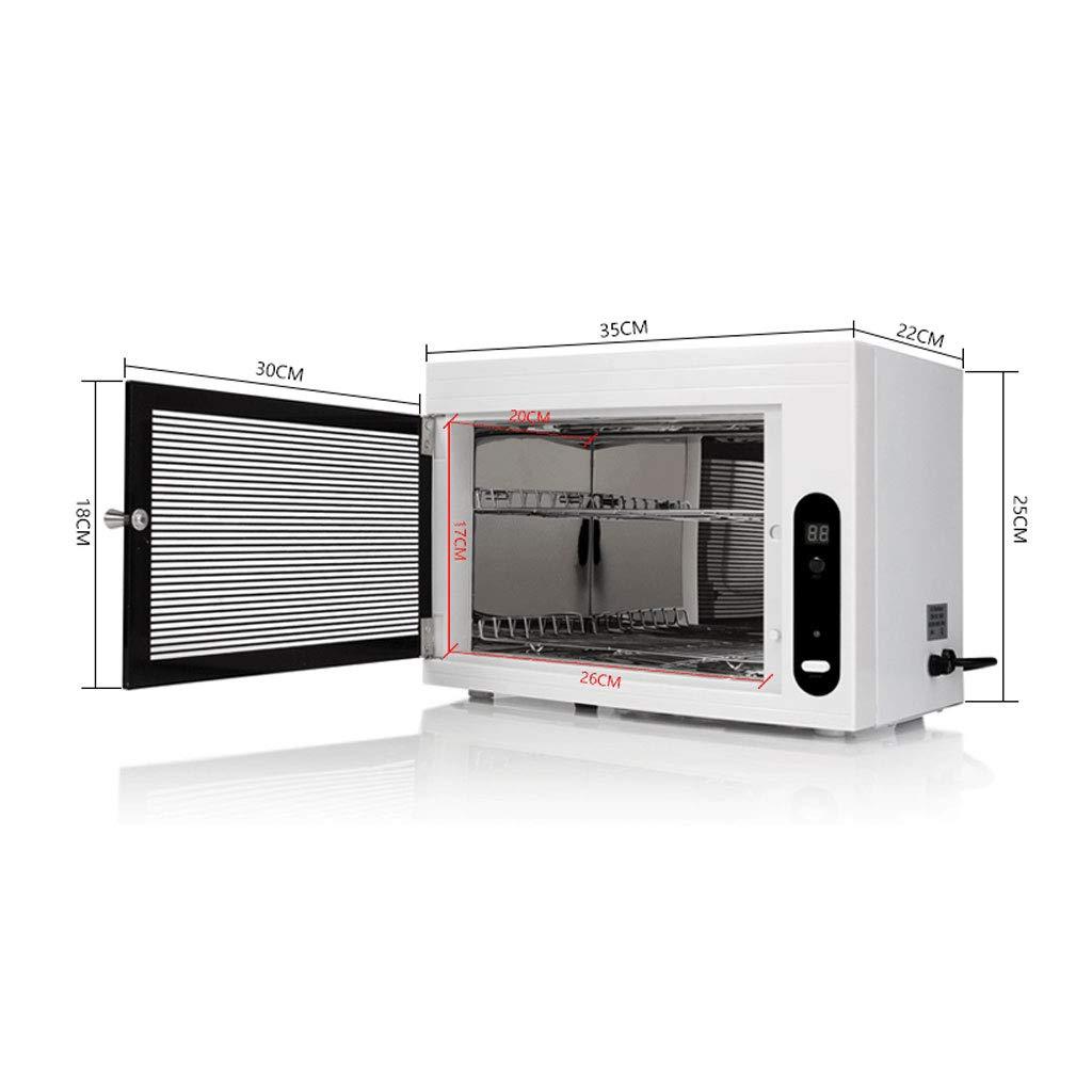 Esterilizadores Calentador de desinfección con esterilizador UV para gabinete de toallas de 15L y riel doble de acero inoxidable para herramienta para salón ...