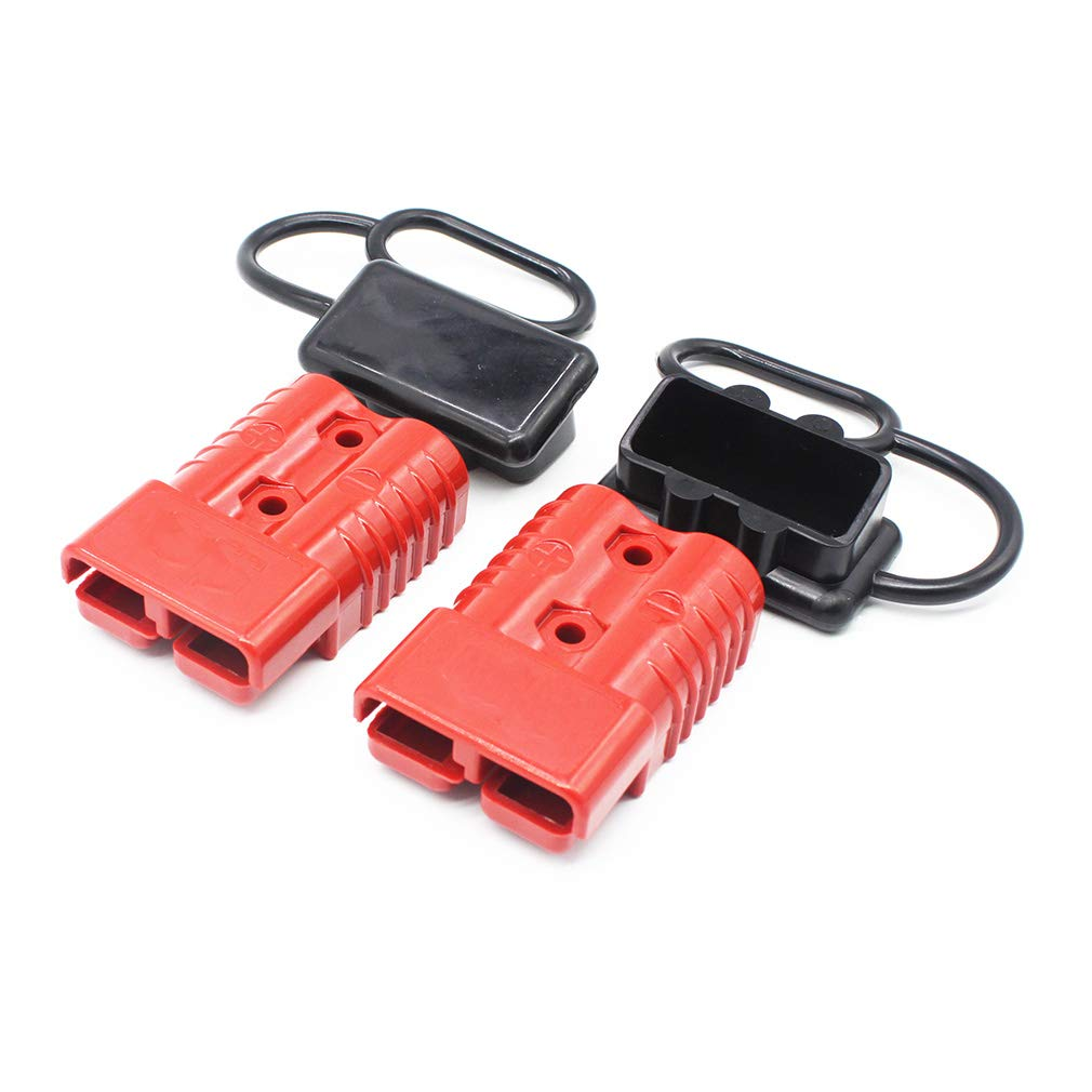 X-Haibei Pair 175 amp 1/0 Gauge Battery Quick Connector Red, Jumper Cables Connect Disconnect Plug with Waterproof Caps for Trailer by X-Haibei