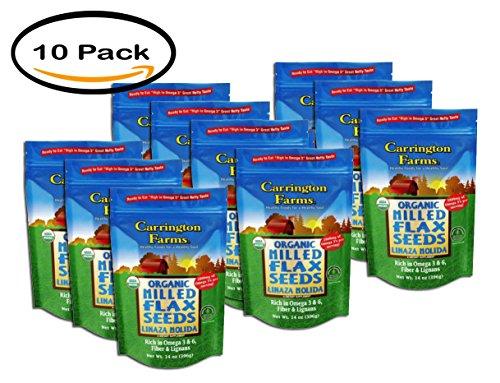 PACK OF 10 - Carrington Farms Organic Milled Flax Seeds, 14 oz by Carrington Farms