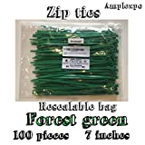 Amplexpo 7'' Standard Cable/ Zip Ties (100 pieces) (50lb. strength) (Forest Green)