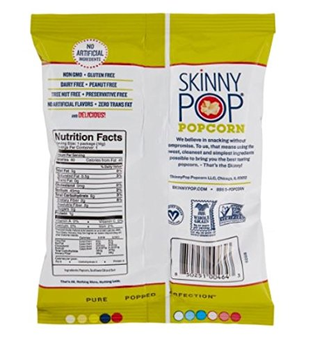 SKINNYPOP Original Popped Popcorn, Individual Bags, Gluten Free Popcorn, Non-GMO, No Artificial Ingredients, A Delicious Source of Fiber, 0.5 Ounce (Pack of 72) by SkinnyPop (Image #2)