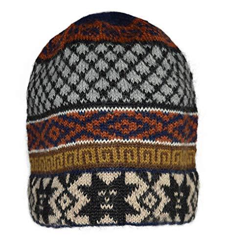 Invisible World Women's 100% Alpaca Wool Hat Knit Unisex Beanie Winter Cap Gretl Navy Rust