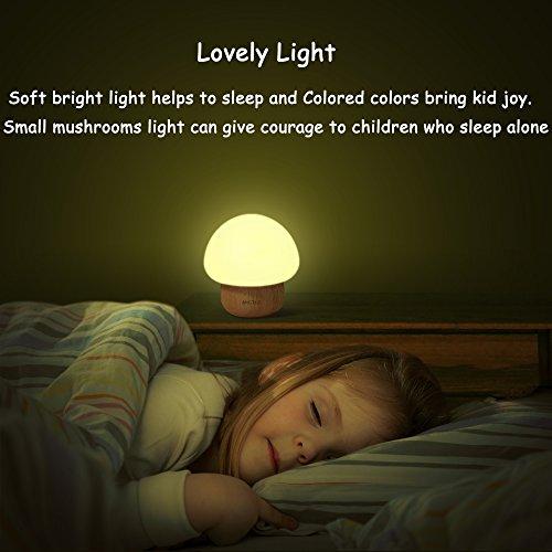 -[ Multicolor LED Night Light , SUNNIOR Portable Silicone Cute Color Changing Mushroom Nursery Nigh
