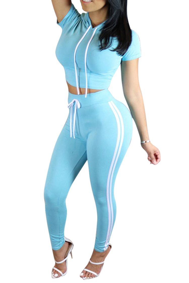 Pink Queen Women Casual Sport Bodycon Crop Top Long Skinny Pant Set Tracksuit (S, Blue)