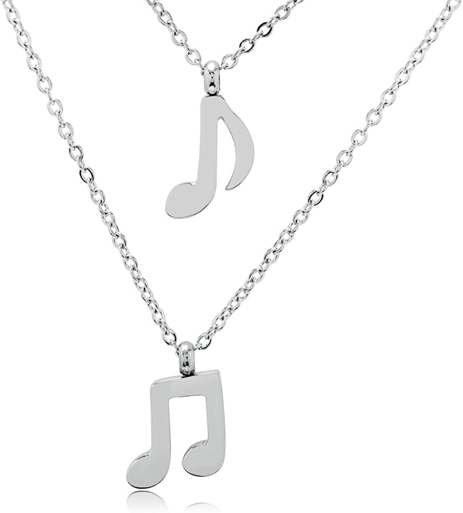 Epinki Stainless Steel Womens Double Music Note Melody Pendant Necklace