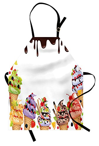 Lunarable Sweet Apron, Ice Cream Background with Chocolate and Cherries Vanilla Waffles Artisan Food Design, Unisex Kitchen Bib Apron with Adjustable Neck for Cooking Baking Gardening, Multicolor