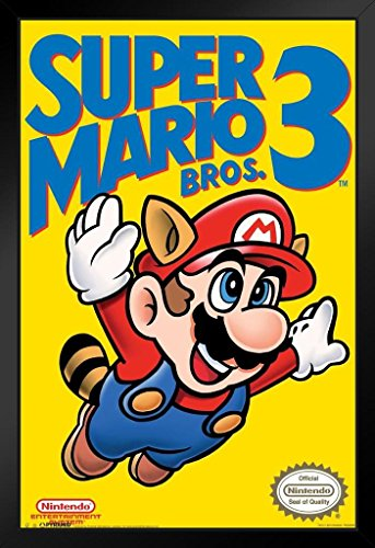 r Mario Bros 3 Video Gaming Framed Poster 14x20 inch ()