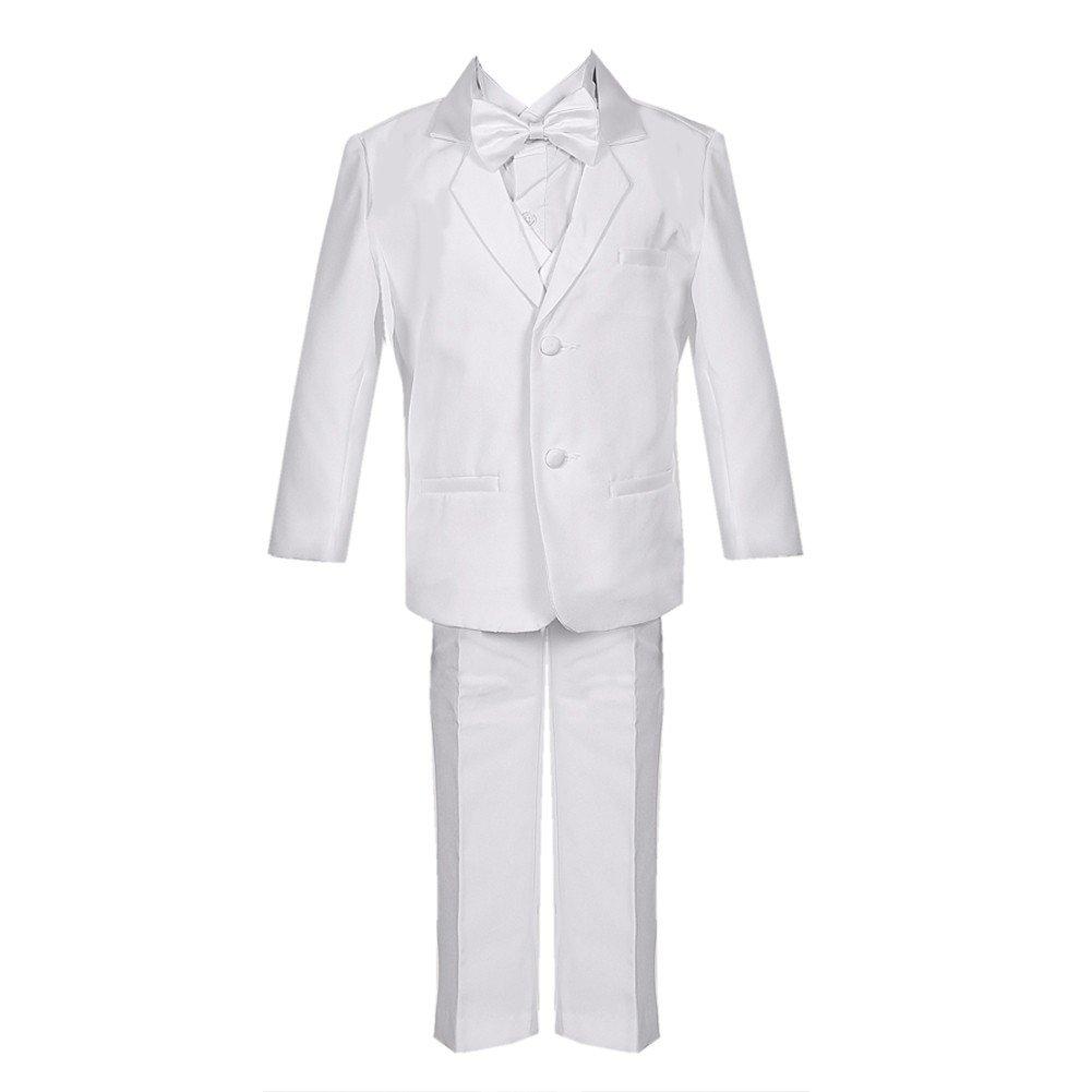 Big Boys White 5 Piece Vest Jacket Pants Special Occasion Tuxedo Suit 8-14 Rafael Collection
