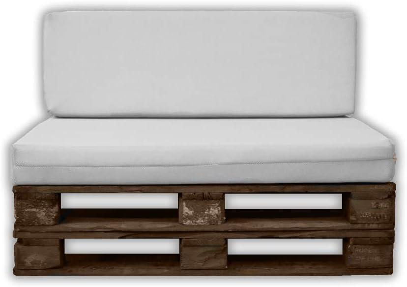 MICAMAMELLAMA Pack Asiento + Respaldo para Sofá de Palet Exterior e Interior - Funda Blanca de Tejido 3D Hipertranspirable - Espuma HR Alta Densidad...